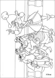 Captain Hook and the pirates coloring page