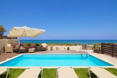 In front of the sea, with venetian castle views in Rethymno this villa is the perfect destination for your summer holidays. Inside the city, still there is peace and quietness for your relaxation. Beachfront Property, Private Pool, Crete, Venetian, Villas, Relax, Cozy, Peace, Holidays