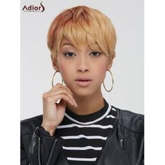 Short Mixed Color Straight Neat Bang Synthetic Wig - COLORMIX