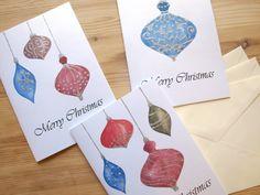 Assorted Christmas Cards Set of 4 - Hand Drawn Illustration Deer, Betlehem, Christmas, Christmas Flowers, Holiday Cards