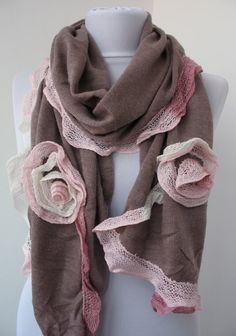 Dusty Rose Lace Scarf   Tricot Fabric Scarf  Dainty by ScarfBeauty, $23.00