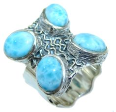 $73.95 Sublime+quality+Blue+Larimar+Sterling+Silver+Cocktail+Ring+size+adjustable at www.SilverRushStyle.com #ring #handmade #jewelry #silver #larimar
