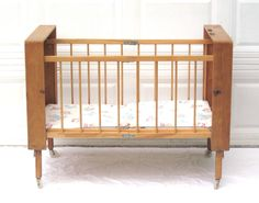 "New to LaurasLastDitch on Etsy: Portable Baby Crib Vintage Bed Folding Collapsible Wood Case Lark (as-is see ""Item Details"") (99.99 USD)"
