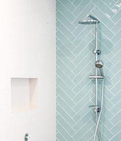 City # half # Tile # seagreen # sea green # turquoise # herringbone # tile # # x # 30 # cm # online # order # – # TILE info Bad Inspiration, Bathroom Inspiration, Modern Master Bathroom, Small Bathroom, Modern Shower, Bathroom Shower Curtains, Shower Tiles, Bathroom Interior Design, Bathroom Renovations