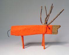 Neon Orange  Wooden Deer 2 via Etsy