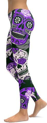 Purple Sugar Skull Leggings - GearBunch Leggings / Yoga Pants