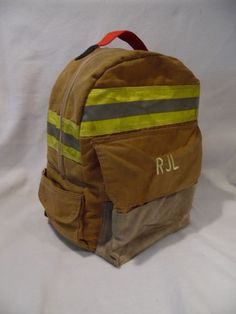 Backpack made from retired bunker gear! Firefighter Room, Firefighter Crafts, Volunteer Firefighter, Fire Department, Fire Dept, School Backpacks, Purses, Fire Fighters, Ems