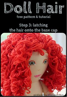 Pickled Okra:: Doll Hair: free pattern and tutorial-Step 3, latching on the hair