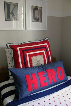 DIY word pillows with felt and stick witchery. Easy.