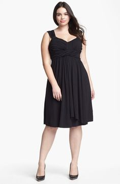 A-line Black Organza Jewel Tea-length Plus Size Bridesmaid Dresses ...