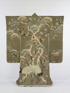 Auspicious patterns- matsu (pine), ume (plum blossom) and tsuru (cranes).  From the Meiji era.