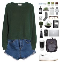 """Back to school"" by f-resh ❤ liked on Polyvore featuring Ganni, Garrett Leight, NIKE, American Apparel, ROOM COPENHAGEN, Nearly Natural, Junghans, Muji, H&M and Evergreen"