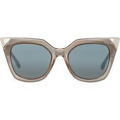 Fendi Iridia Sunglasses ($455) ❤ liked on Polyvore featuring accessories, eyewear, sunglasses, glasses, fendi, colorless, fendi sunglasses, tortoise sunglasses, cat eye sunglasses and clear lens sunglasses