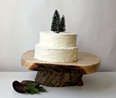 "The trees cake topper is so simple - I love it!    18"" tree slice wedding cake stand, great craftsmanship, rustic, natural wood live edge, winter wedding.  via Etsy."