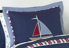 Nautical Nights Sailboat Pillow Sham by Sweet Jojo Designs #KidsRoom #BotiqueBedding