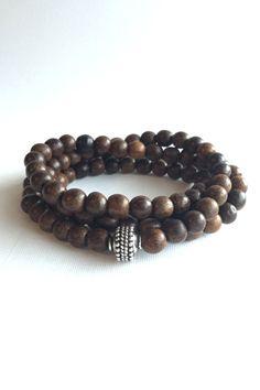 Sandalwood Bead Necklace or Wrap Bracelet 108 Bead by GemsByKelley