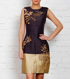 Grey & Gold Silk Pleated Dress