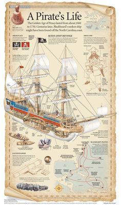 A Pirate's Life Visual Infographic Ice climbing waters trip ships kayaking Pirate Art, Pirate Life, Pirate Ships, Pirate Crafts, Pirate History, Golden Age Of Piracy, Old Sailing Ships, Black Sails, Pirates Of The Caribbean