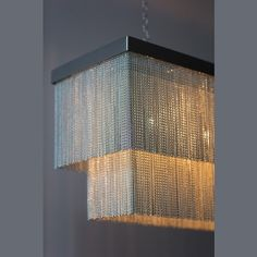 Rectangular Chandelier with Silver Chain