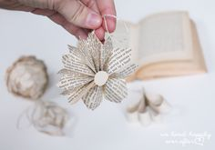 "We Lived Happily Ever After: Cheap Last Minute Christmas ""Vintage Book Page"" Ornaments 