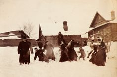 https://flic.kr/p/7C3T2i | Snowball fight, Russia, 1900 | Note the photographer in the background.
