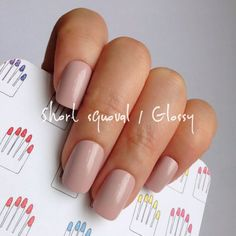 Short Squoval 20pcs Pastel Azuki Pink Hand painted Short by 31313