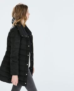 Image 4 of LONG DOWN JACKET WITH WRAP COLLAR from Zara