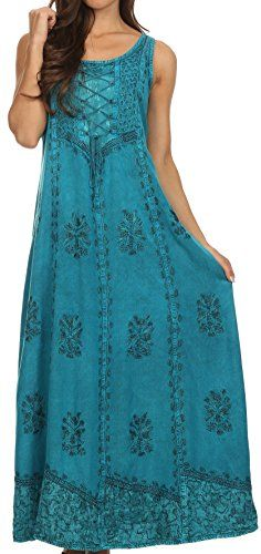 Sakkas 15229  Stella Long Tank Top Adjustable Caftan Corset Dress With Embroidery  Turquoise  SM ** More info could be found at the image url.