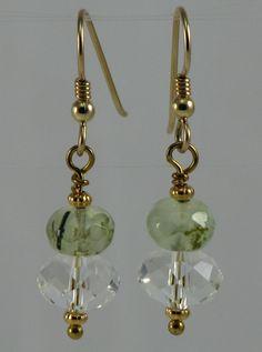 Spring Green Prehnite Earrings with Swarovski Crystal by BeadtifulDesigns on Etsy