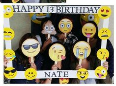 Emoji birthday photo booth frame