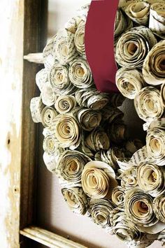 """Holiday wreath...made of book pages, and crimson velvet ribbon (2"""")"""