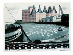 View Set of 4 Works: Watermill at Coltishall; Mistley Quay & Woodbridge Tide Mill By David Gentleman; lithograph in colour; Collage Illustration, Graphic Illustration, Illustrations, David Gentleman, Glasgow School Of Art, Margaret Howell, Art For Art Sake, Ship Art, Landscape Paintings