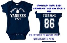 wht/nvy DADDYS mommys yankees fan baby infant toddler onesie t-shirt  personalized custom jersey new york clothes t shirt gear. $24.00, via Etsy.