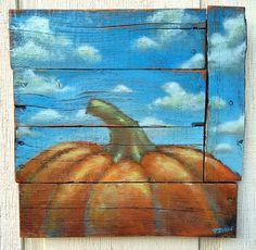 "Painting ""Pumpkin Heaven"" - wood art, rustic, clouds, paint on wood. autumn , fall, wall hanging, halloween, pallet wood art, door hanger"