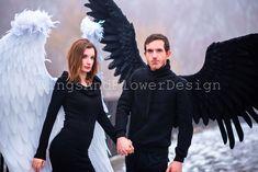 Black Angel Wings, Black Angels, Lucifer Wings, Goth, Wedding, Color, Dresses, Dark Angels, Gothic
