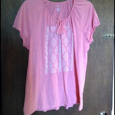 """Pink embroidered tassel tie top Very cute and nice bright pink color with white embroidered front and cute tassel ties, comfy just like a tshirt but a little dressier, will fit up to 42"""" bust, length is 27"""", this is a big medium, it could fit many larges and xl as well Sonoma Tops Tees - Short Sleeve"""