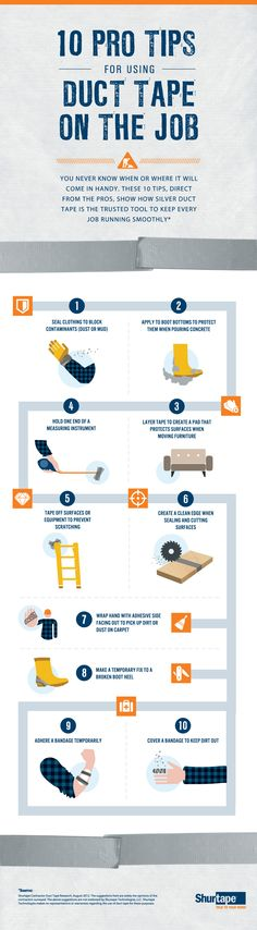 10 Pro Tips for Using Duct Tape on the Job   #infographic #DuctTape #Survival #Workplace