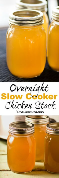 Overnight Slow Cooker Chicken Stock by Noshing With The Nolands is so simple to make! Just add all the ingredients to your slow cooker the night before and you'll wake up to a gorgeous chicken stock!