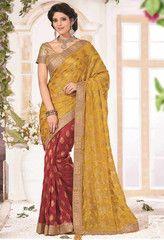 Yellow & Red Color Half Bhagalpuri & Half Wrinkle Chiffon Function & Party Wear Sarees : Anaika Collection YF-31667