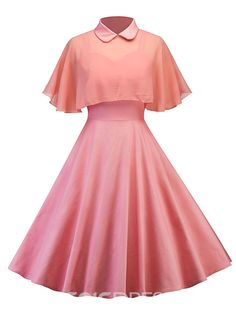 Vintage Dresses Retro Women Housewife Swing Party Rockabilly Dress With Sheer Mesh Cape Pretty Outfits, Pretty Dresses, Beautiful Dresses, Cute Outfits, Cute Formal Dresses, Cute Dresses For Teens, Party Dresses For Women, Pretty Clothes, Kawaii Fashion