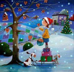 """Ulla's Ginger Christmas"" by © Iwona Lifsches, 2015 Christmas World, Christmas Scenes, Christmas Art, All Things Christmas, Vintage Christmas, Christmas Decorations, Christmas Jigsaw Puzzles, Art Fantaisiste, Illustration Noel"