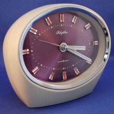 Retro 1970s Purple Oval Rhythm Wind up Alarm Clock, Japanese