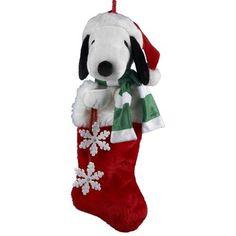 Peanuts Kurt Adler 21-Inch Snoopy Plush Head Stocking With Snowflake Dangles