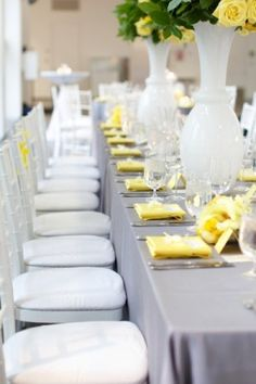 yellow and grey wedding colours ... Except switch grey for black