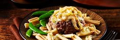 Hamburger Steak with Caramelized Onion Sauce Our Hamburger Steak with Caramelized Onion Sauce recipe is a hearty dish full of flavour. With seasoned ground beef patties and a mouthwatering onion gravy, you can feed the whole family for dinner! Sauce Recipes, Beef Recipes, Vegetarian Recipes, Cooking Recipes, Healthy Recipes, Beef Meals, Recipies, Hamburger Recipes Easy, Campbells Recipes