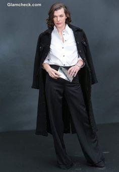 Milla Jovovich Uber-Hot in Androgynous Getup at Paris Fashion Week F/W 2013 Androgynous Look, Androgynous Fashion, Androgyny, Short Brown Hair, Crisp White Shirt, Milla Jovovich, Hollywood Actresses, Style Icons, Feminine