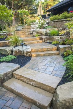 Back Yard Stone Pathway Oasis - Ravine Lot (or Sloping Lot) Worthy Design by Hogan Landscaping Backyard Walkway, Garden Stairs, Front Walkway, Front Steps, Sloped Yard, Sloped Backyard, Landscaping With Rocks, Front Yard Landscaping, Landscaping Ideas
