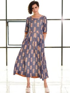 Blue-Orange Box Pleated Handloom Ikat Cotton Dress