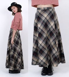 80's Gray PLAID Wool Long MAXI Skirt Grunge by MamaStoneVintage, $48.00