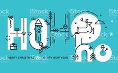 design de linha plana de natal e ano novo Cartão de saudação - arte vetorial de acervo royalty-free